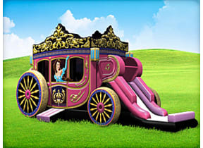 Princess Carriage Moonwalk with Slide