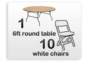 1 6ft Adult Round Table, 10 White Chairs