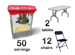 Popcorn Machine, 2 Rectangle Tables & 12 Chairs Package