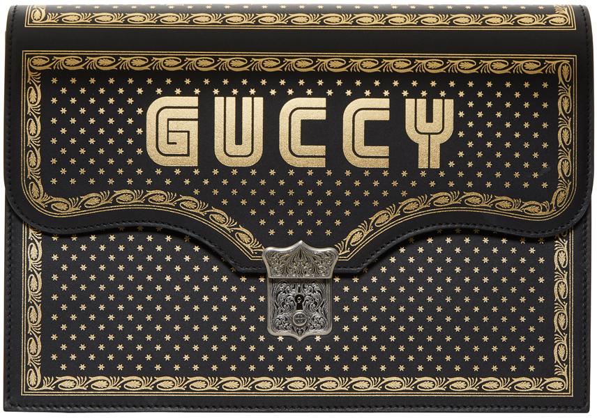 Gucci Black Sega 'Gucci' Magnetismo Book Pouch
