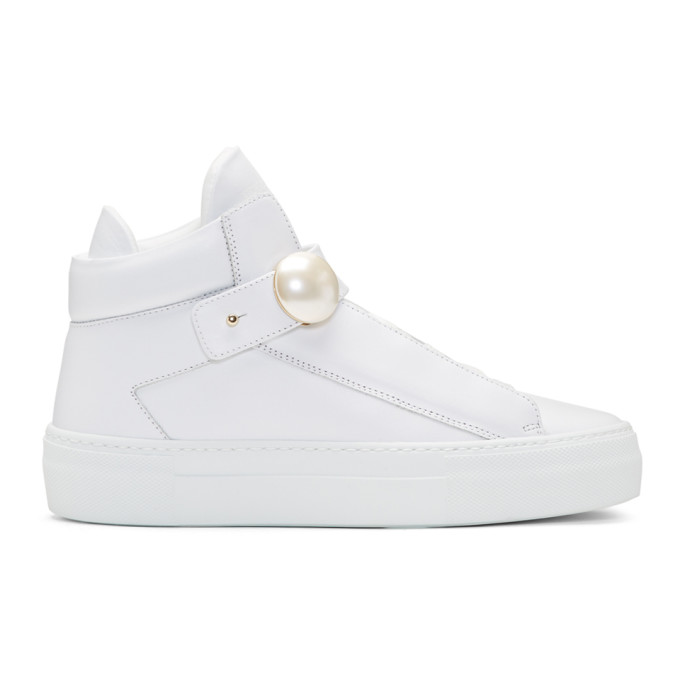 Alexander Wang White Pearlogy High-Top Sneakers