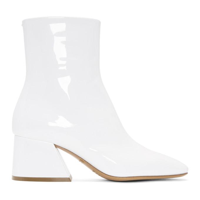 Maison Margiela White Patent Flare Heel Boots xsCzd