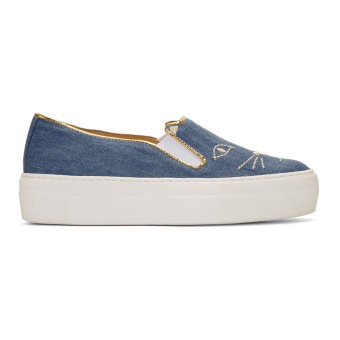 Charlotte Olympia Denim Cool Cats Sneakers hqeIFv