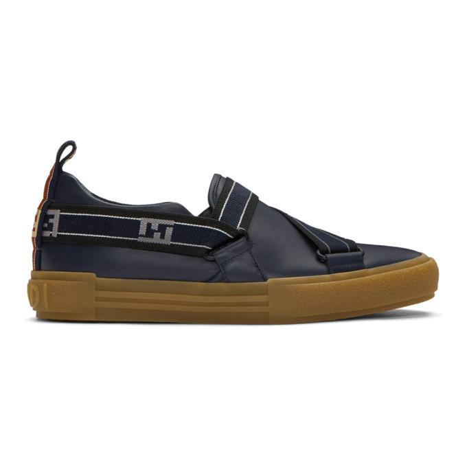 Fendi Navy 'Forever ' Slip-On Sneakers 4ZQAKan