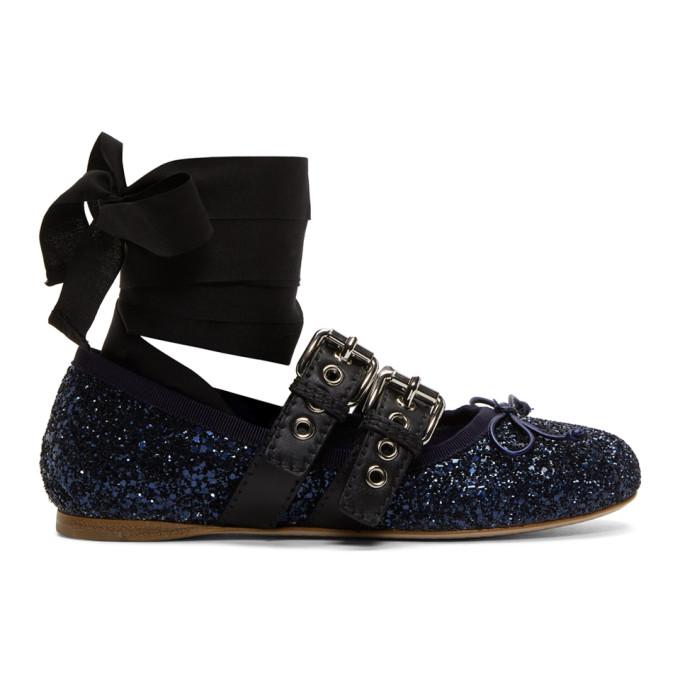 Miu Miu Glitter Double Bands Ballerina Flats zlihwV6