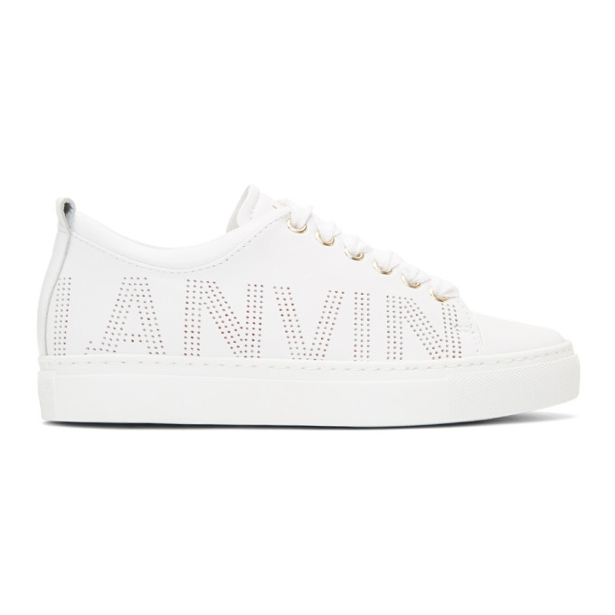 Lanvin Nappa Perforated Logo Sneakers qfewH0ekOf