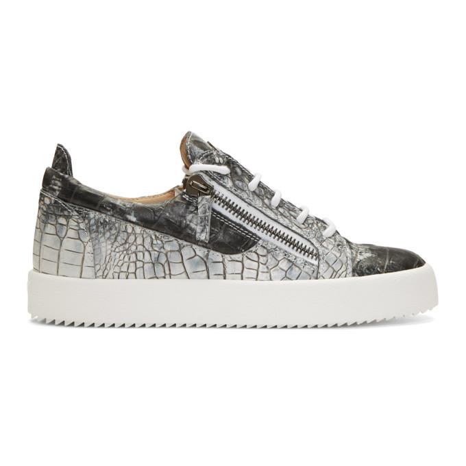 Giuseppe Zanotti Grey & White Croc May London Sneakers aYLlLI