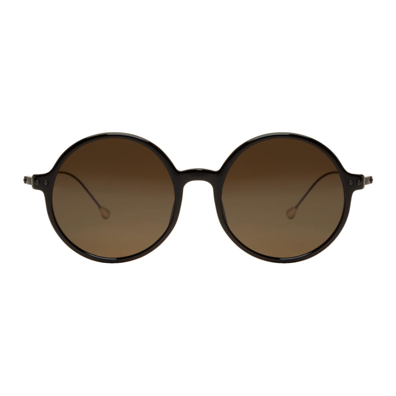 ANN DEMEULEMEESTER Black Linda Farrow Edition Round Sunglasses KS3oXJEo