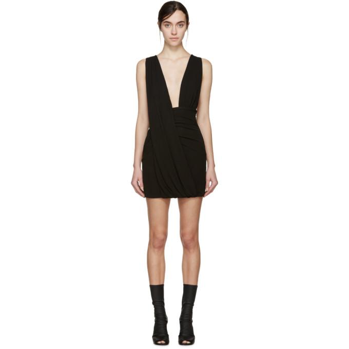 ANTHONY VACCARELLO Anthony Vaccarello Black Draped Jersey Dress