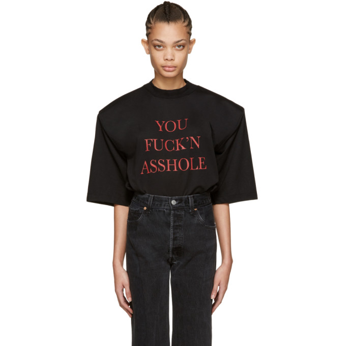 VETEMENTS SSENSE Exclusive Black 'You Fuck'n Asshole' Football Shoulder T-Shirt