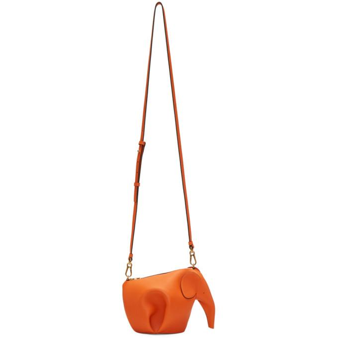 Sac Orange Mini Elephant by Loewe