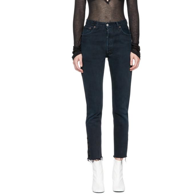 OLIVIER THEYSKENS Olivier Theyskens Black Re/Done Levis Edition Tenim High-Rise Ankle Crop Jeans in Off-Black