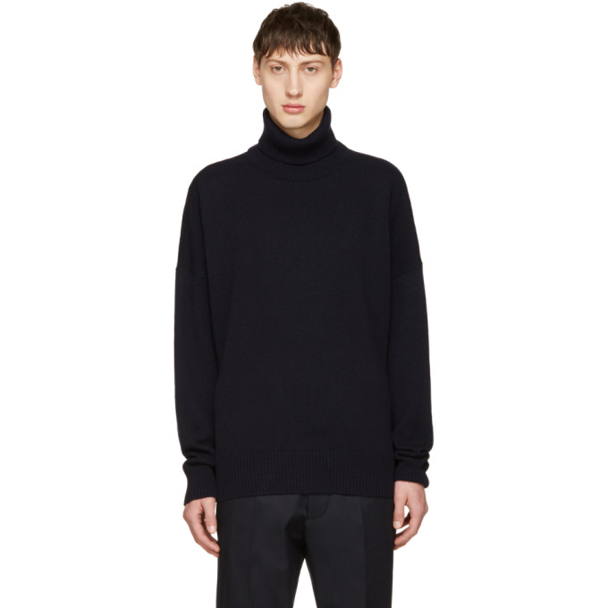 Navy Oversized Merino Turtleneck by Ami Alexandre Mattiussi