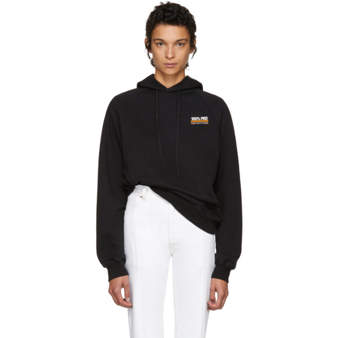 Black '100 Percents Pro' Normal Fitted Hoodie by Vetements