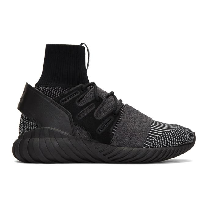 Black and Grey Tubular Doom PK High-Top Sneakers adidas Originals