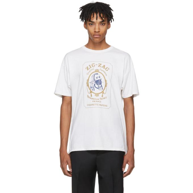"ADAPTATION ""Zig-Zag"" Cotton-Blend Jersey T-Shirt in White"