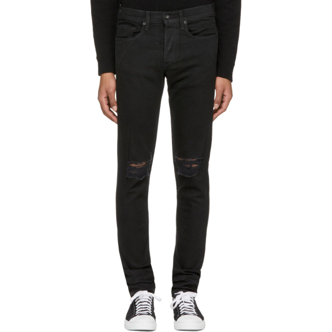 Black Standard Issue 'fit 1' Holes Jeans by Rag & Bone