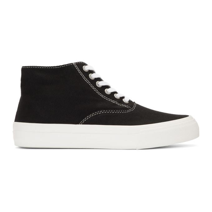 50b952039fe0b7 Comme Des GarÇOns Homme Deux Comme Des Garcons Homme Black Canvas Mid-Top  Sneakers