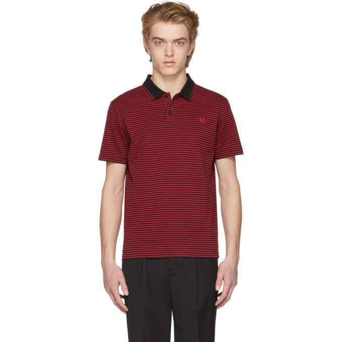 Mcq By Alexander Mcqueen  MCQ ALEXANDER MCQUEEN BLACK AND RED STRIPED CLEAN POLO