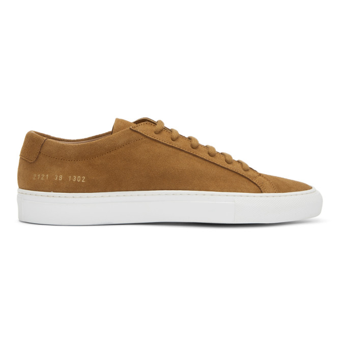 Tan and White Suede Original Achilles Low Sneakers Common Projects