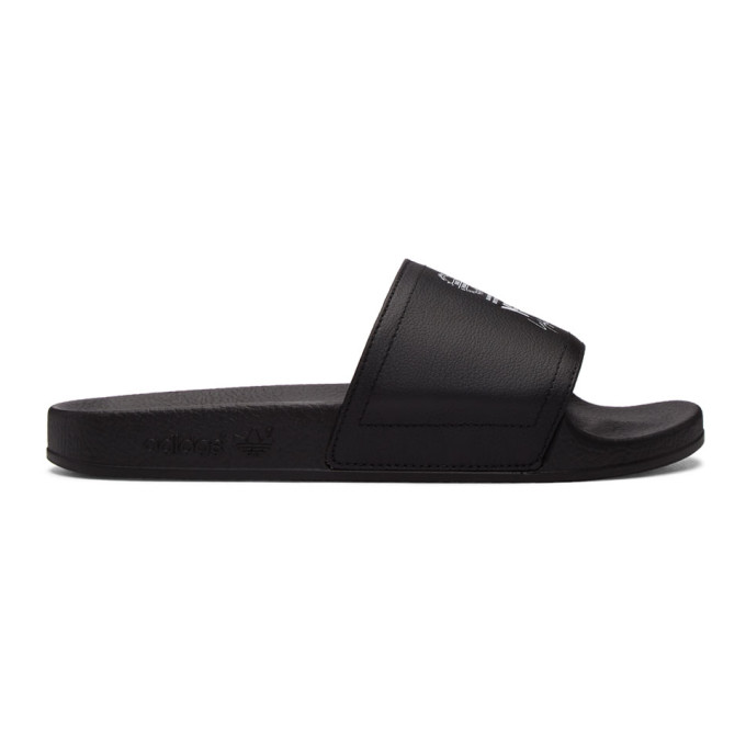 Y-3 Y-3 BLACK LEATHER ADILETTE SLIDES