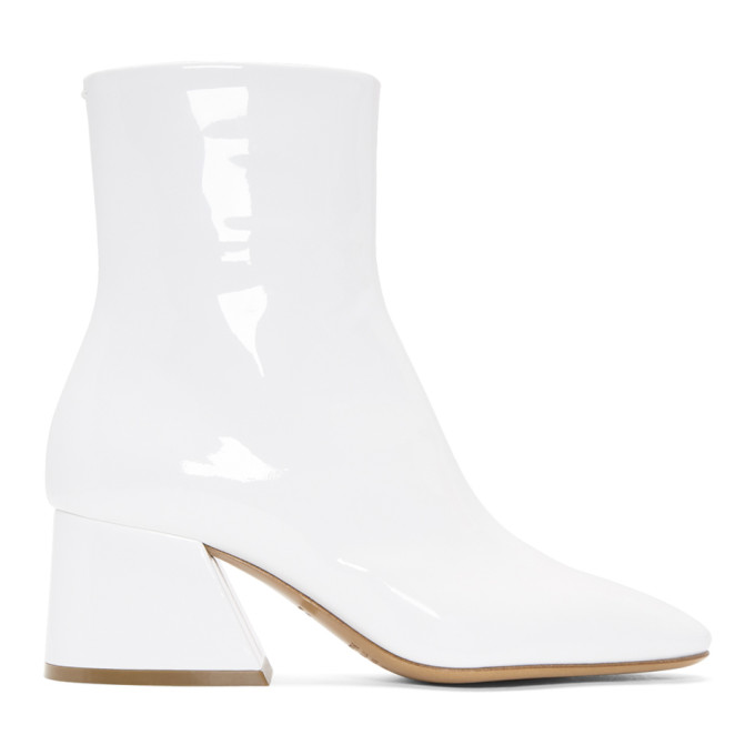 Maison Margiela White Patent Flare Heel Boots