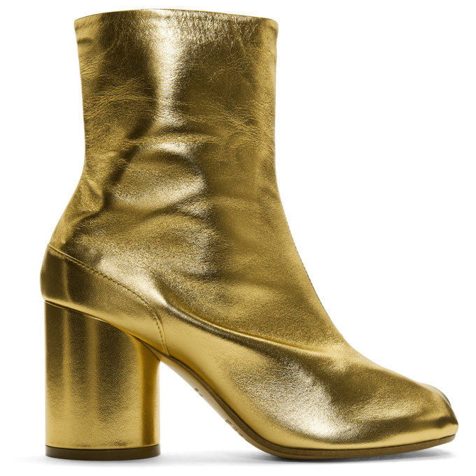 Gold Tabi Boots by Maison Margiela
