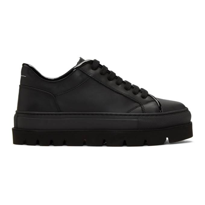 MM6 MAISON MARTIN MARGIELA BLACK LEATHER FLATFORM SNEAKERS
