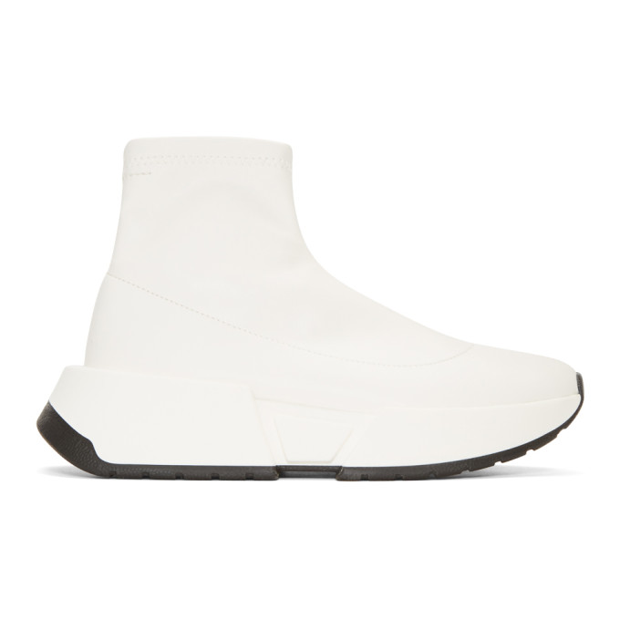 Mm6 Maison Margiela White Second Skin Platform High-Top Sneakers in 101White