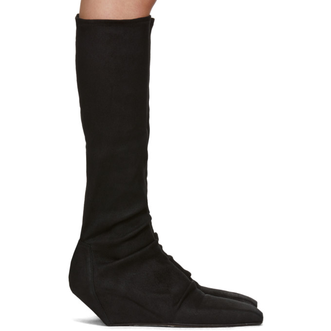 Rick Owens Black Sliver Sock Boots in 09 Black