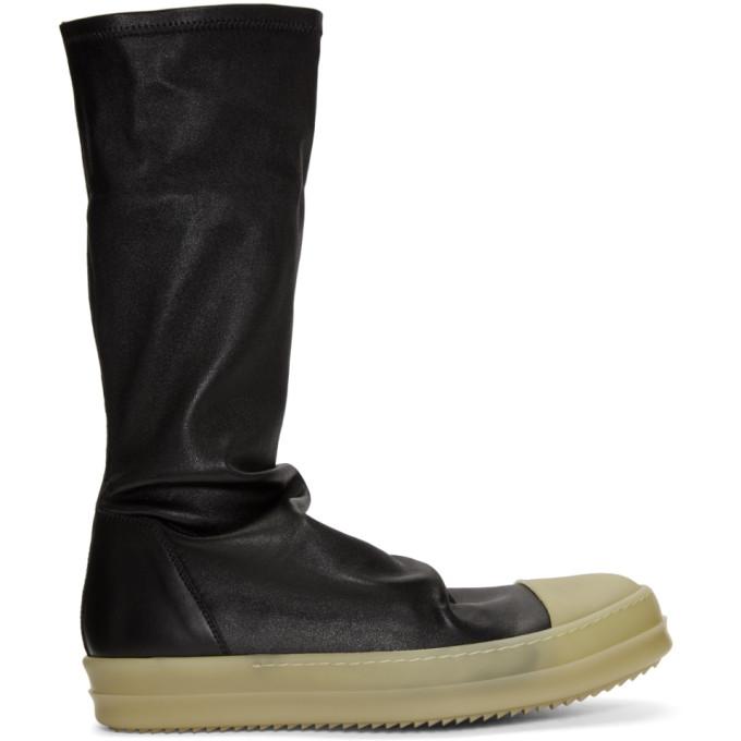 Rick Owens黑色橡胶袜子高帮运动鞋