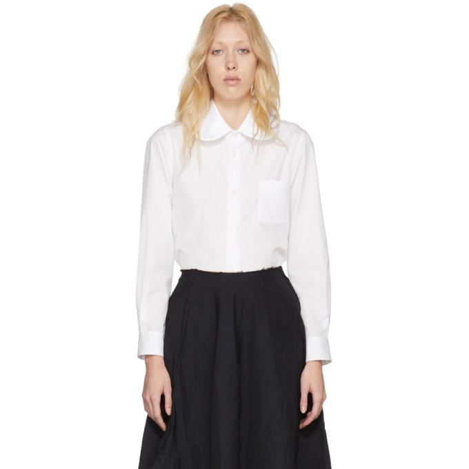 White Satin Round Collar Shirt by Comme Des GarÇons