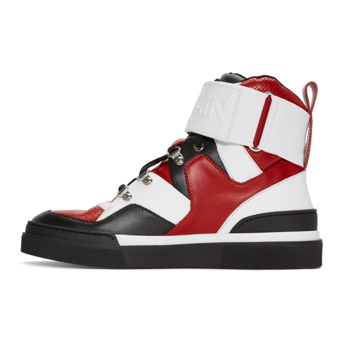 Red and Black Cleveland High-Top Sneakers Balmain