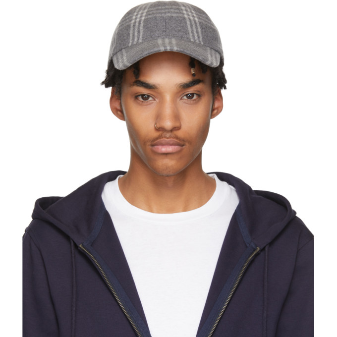 A.P.C. Grey Check Louis Cap In Pla6205450  acca7a89b99