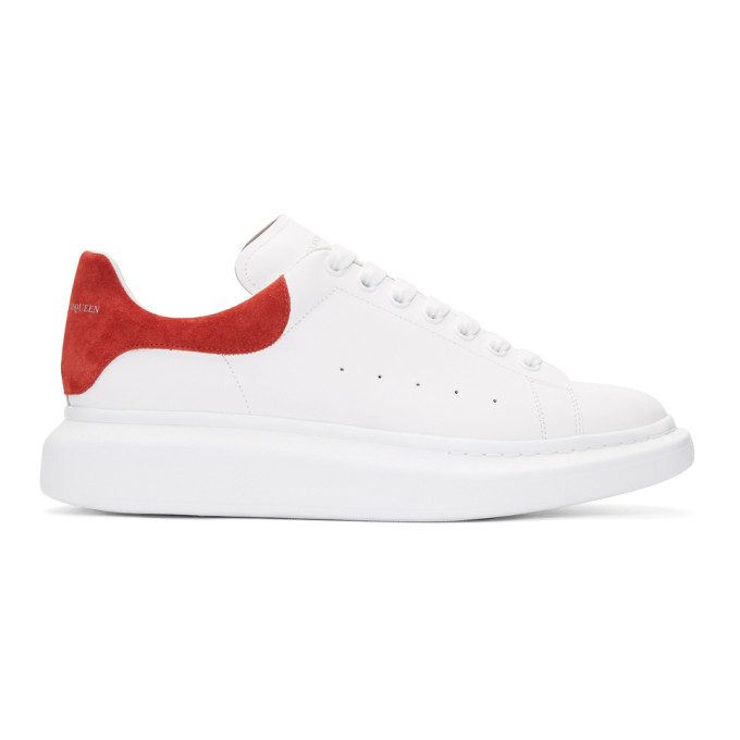 Alexander Mcqueen Leathers ALEXANDER MCQUEEN WHITE AND RED OVERSIZED SNEAKERS