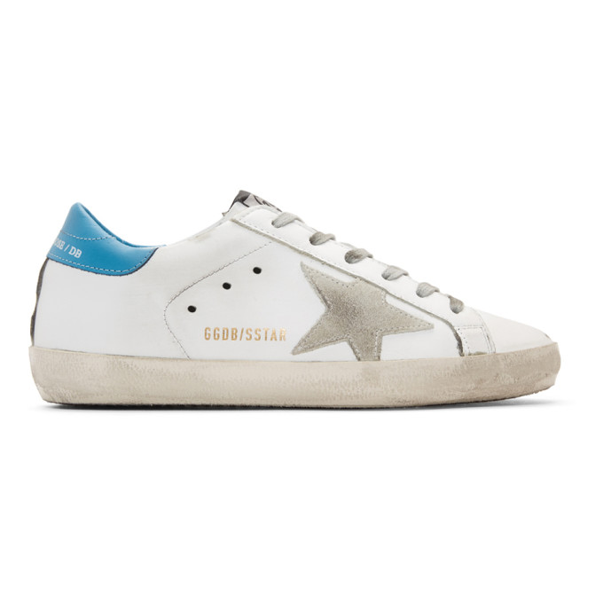 Golden Goose Leathers GOLDEN GOOSE WHITE AND BLUE SUPERSTAR SNEAKERS