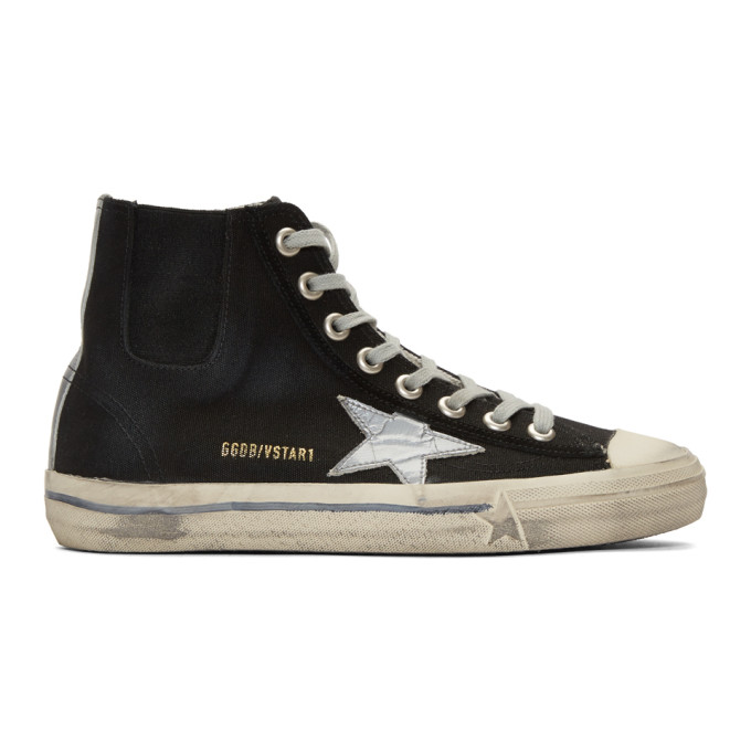 Valentino Black & Silver Scotch Tape V-Star High-Top Sneakers