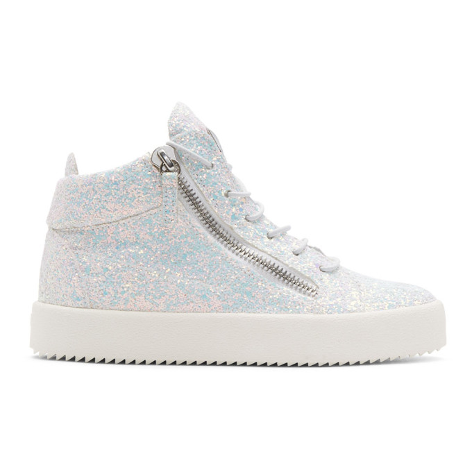 White Glitter May London High-Top Sneakers