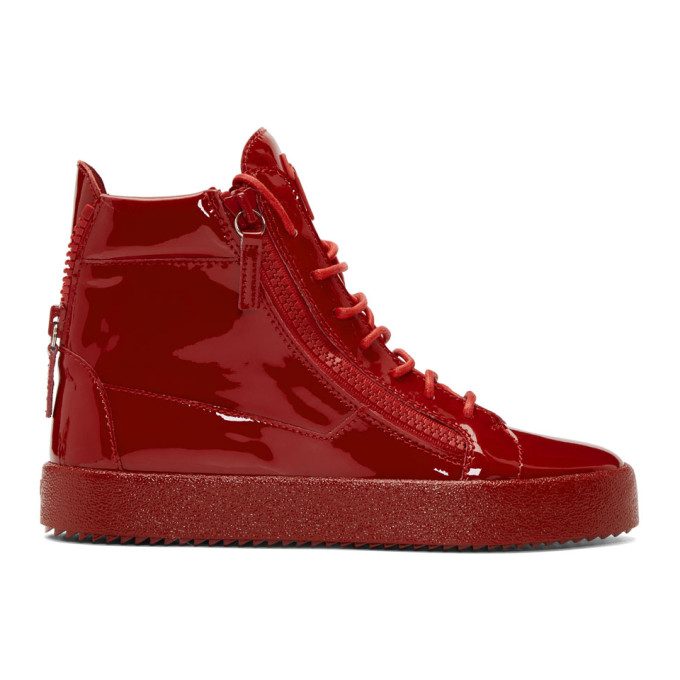Red Patent May London High-Top Sneakers Giuseppe Zanotti