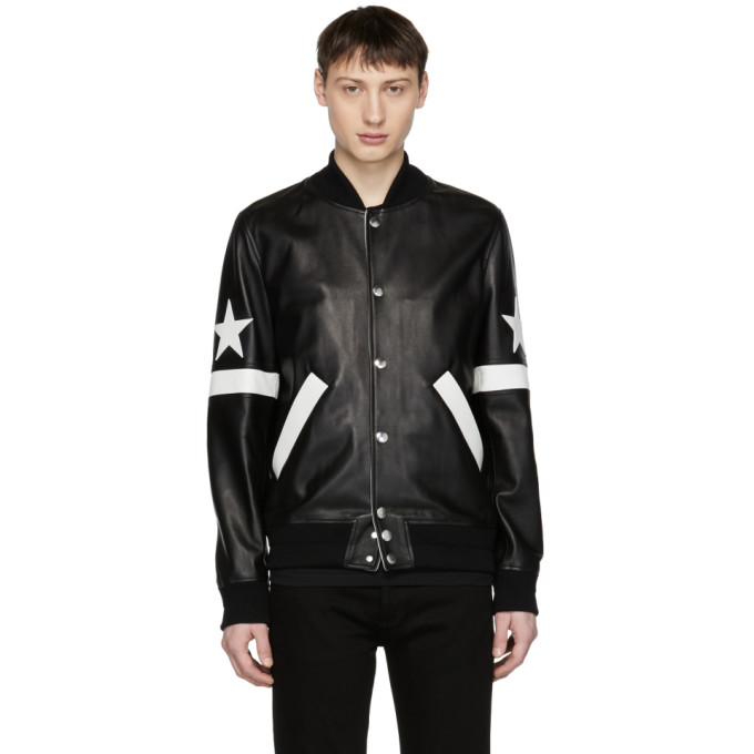 Black Leather Star & Stripe Bomber Jacket by Givenchy