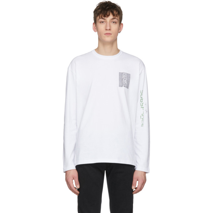 T Shirt à Manches Longues Blanc Joy Division Unknown Pleasures 'substance' by Raf Simons
