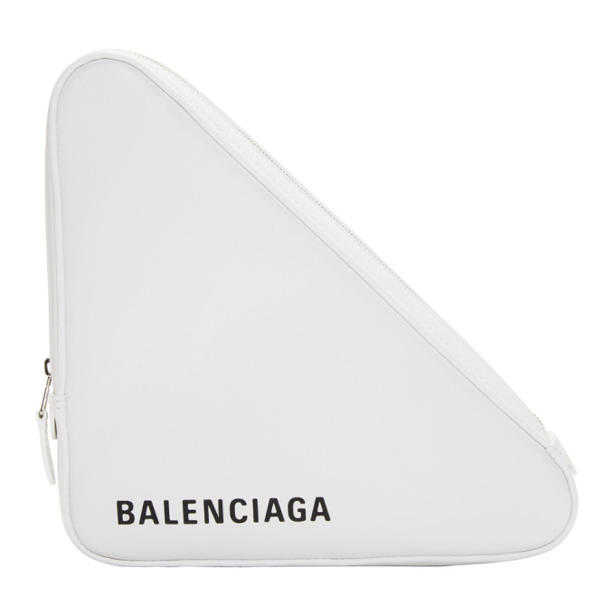 Triangle Pochette M Leather Clutch in White Black