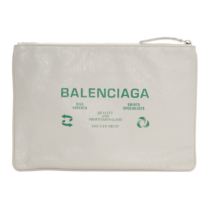 White & Green Dry Clean Pouch by Balenciaga