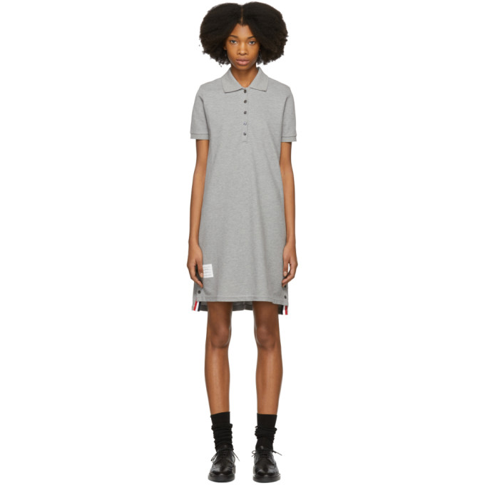 Thom Browne Striped Cotton Pique Polo Dress - Grey, 055 Lt Grey