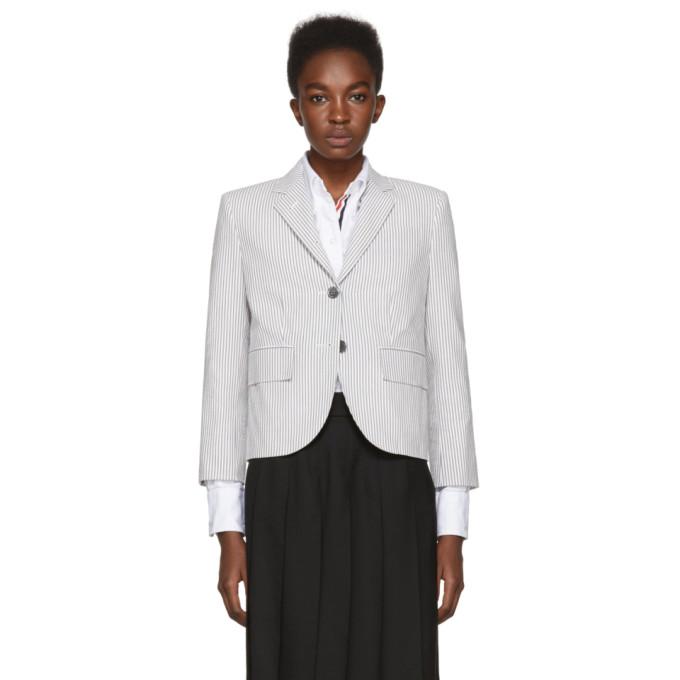 Striped Cotton-Seersucker Blazer, 035 Med Gre