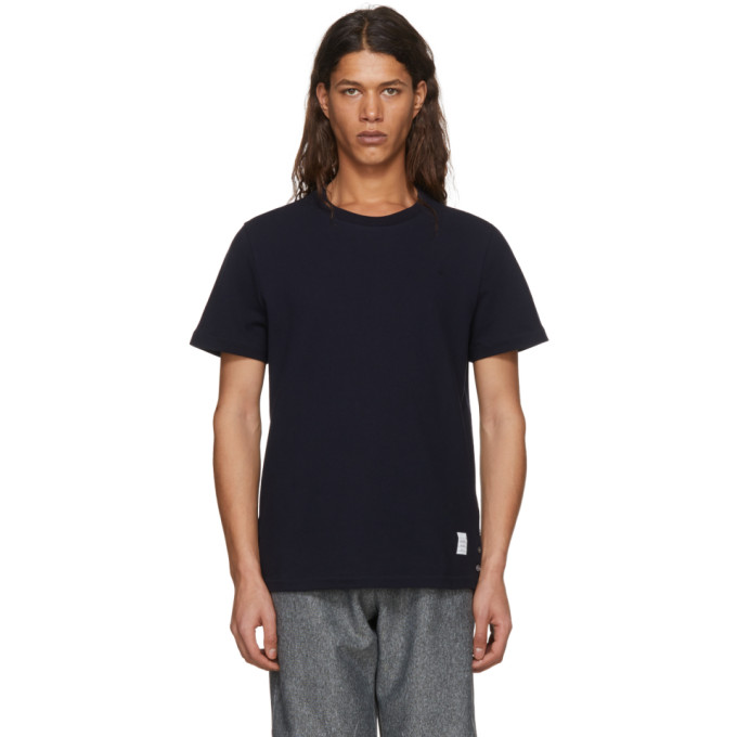 THOM BROWNE Short-Sleeve Pique T-Shirt, 415 Navy