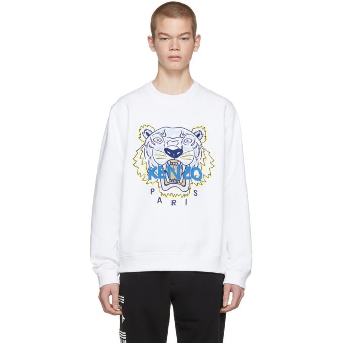 KENZO Tiger White Cotton Sweatshirt, 01.White