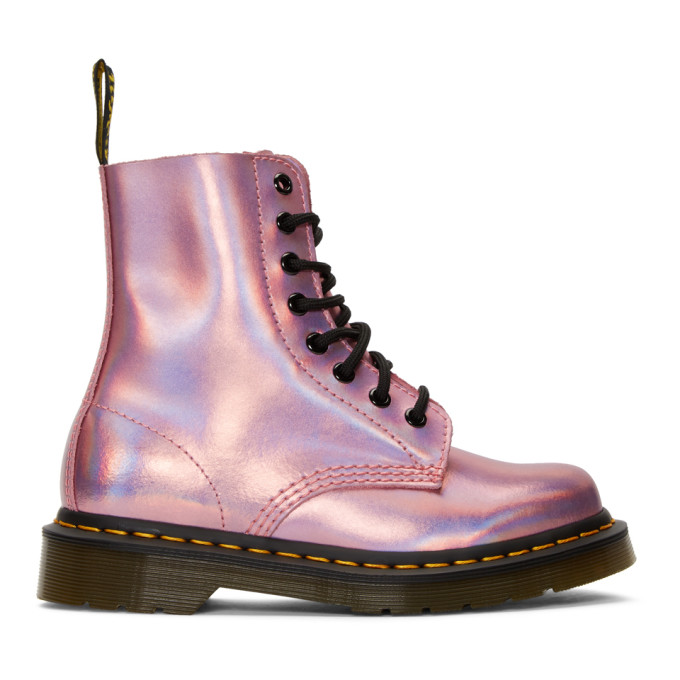 Pink Reflective Metallic Pascal Lace Up Boots by Dr. Martens