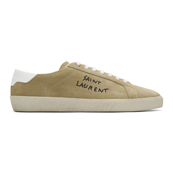 Sl/06 Court Classic Leather-trimmed Suede Sneakers - Dark greenSaint Laurent