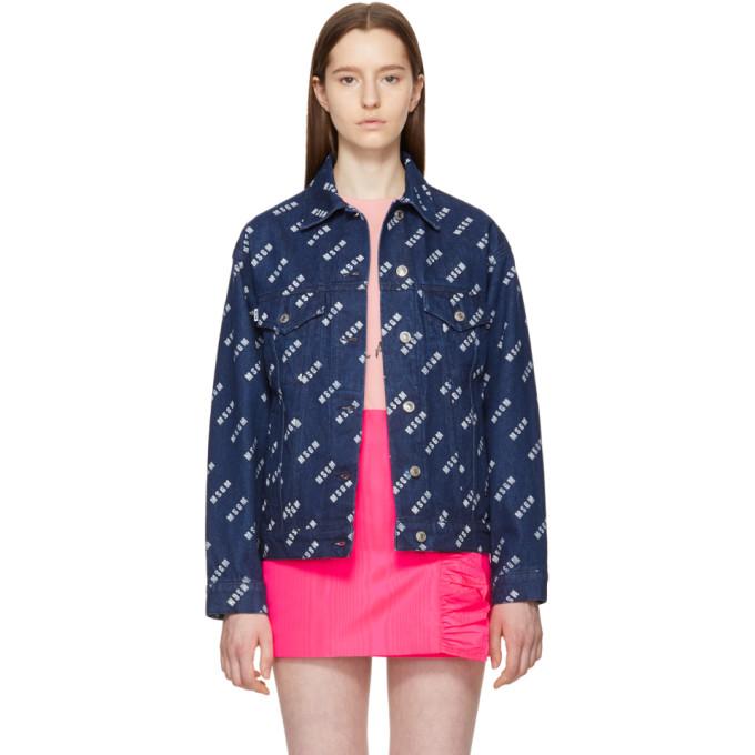 Blue Multi Stamped Denim Jacket by Msgm